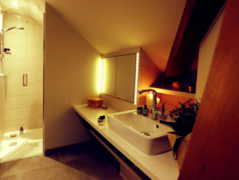 salle de bains poutres